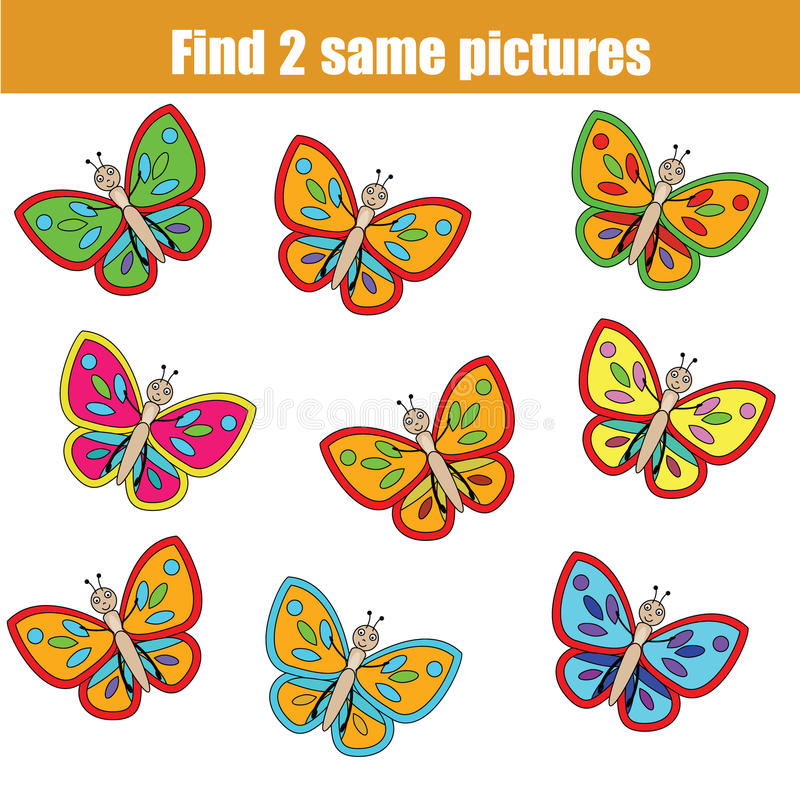Encuentre el mismo juego educativo de los niños de las imágenes con las mariposas ilustración del vector