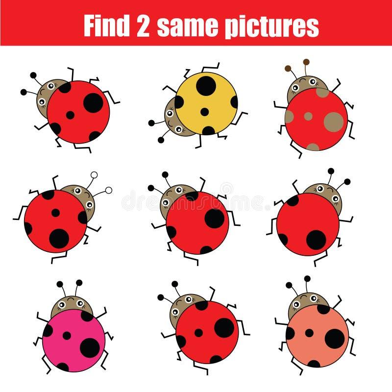 Encuentre el mismo juego educativo de los niños de las imágenes con las mariquitas ilustración del vector