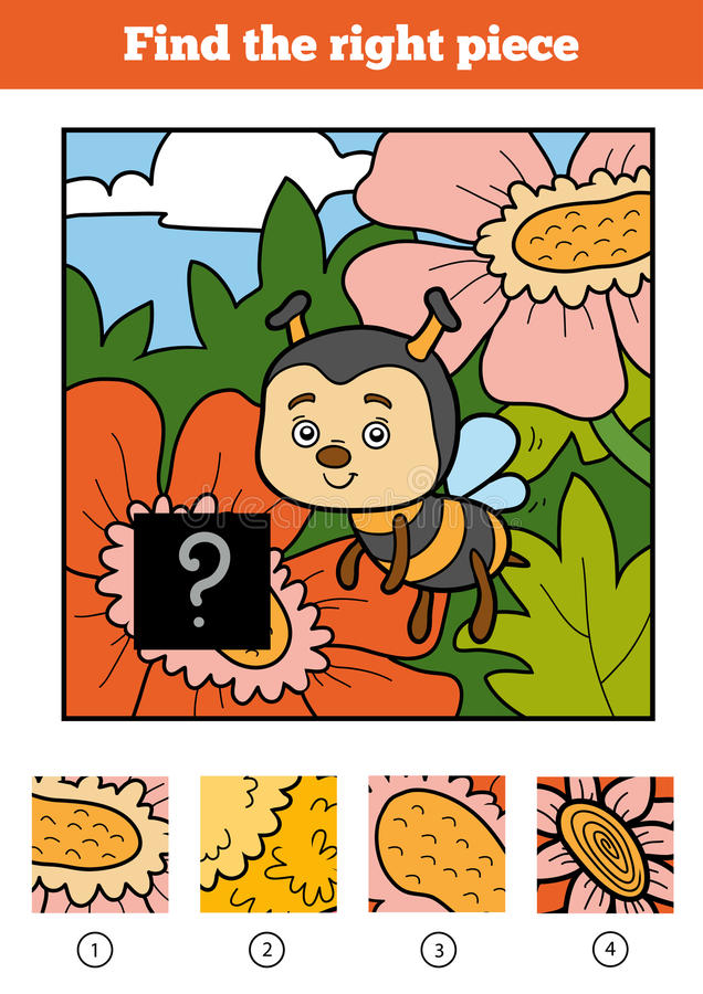 Encuentre el pedazo correcto, juego para los niños Abeja ilustración del vector