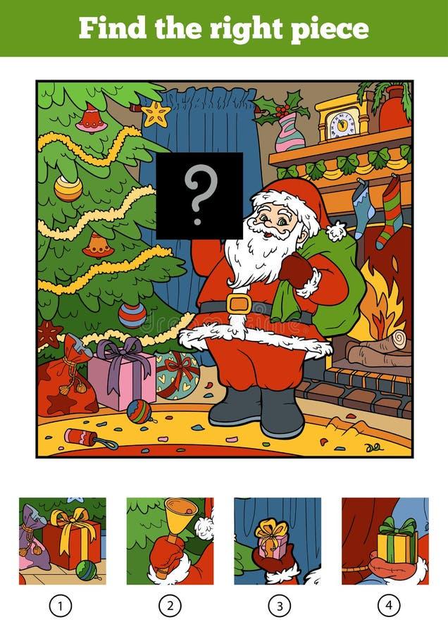 Encuentre el pedazo correcto, juego para los niños Papá Noel _2 libre illustration