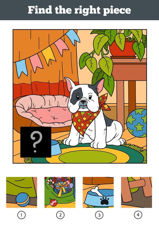 Encuentre el pedazo correcto, juego para los niños Pequeño perro ilustración del vector