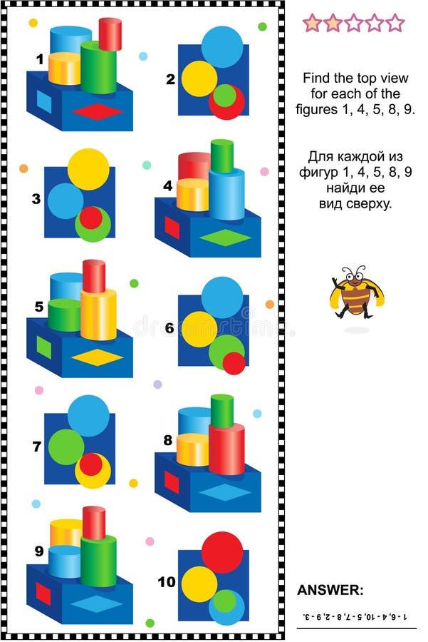 Encuentre el rompecabezas visual de la matemáticas de la visión superior con el sistema de sólidos stock de ilustración