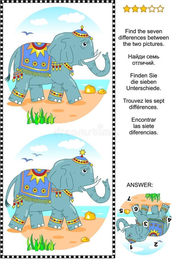 Encuentre el rompecabezas visual de las diferencias con el elefante libre illustration