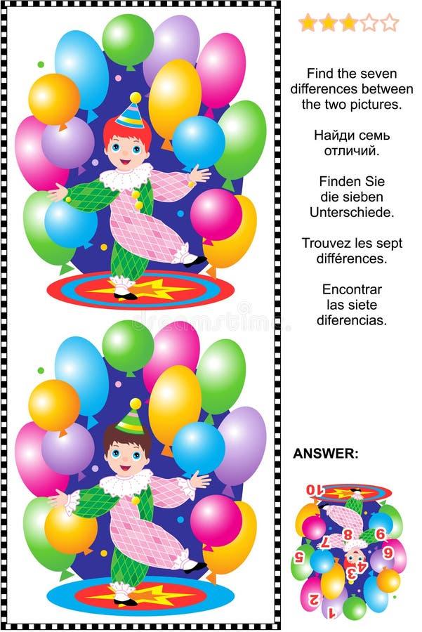 Encuentre el rompecabezas visual de las diferencias - poco payaso de circo stock de ilustración