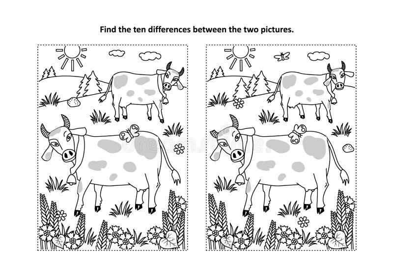 Encuentre la página visual del rompecabezas y del colorante de las diferencias con las vacas en un pasto stock de ilustración