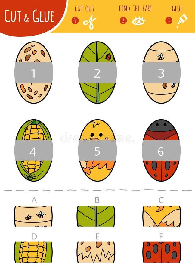 Encuentre la parte correcta Corte y juego del pegamento para los niños óvalos ilustración del vector
