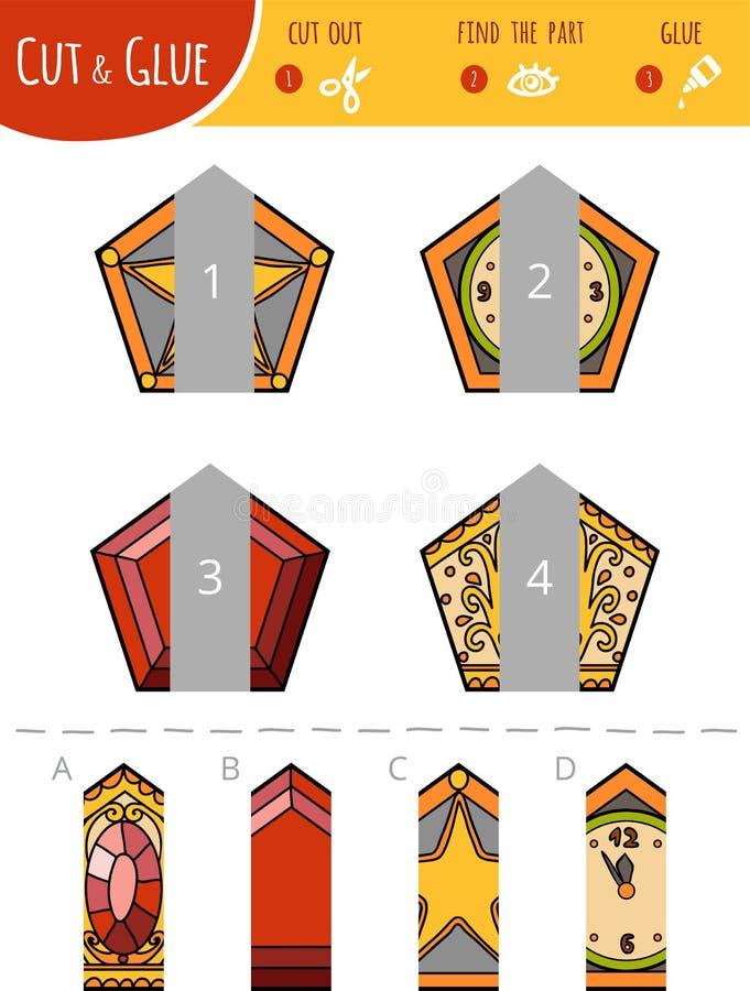 Encuentre la parte correcta Corte y juego del pegamento para los niños pentágonos stock de ilustración