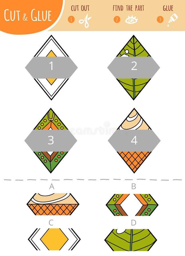 Encuentre la parte correcta Corte y juego del pegamento para los niños rombo ilustración del vector