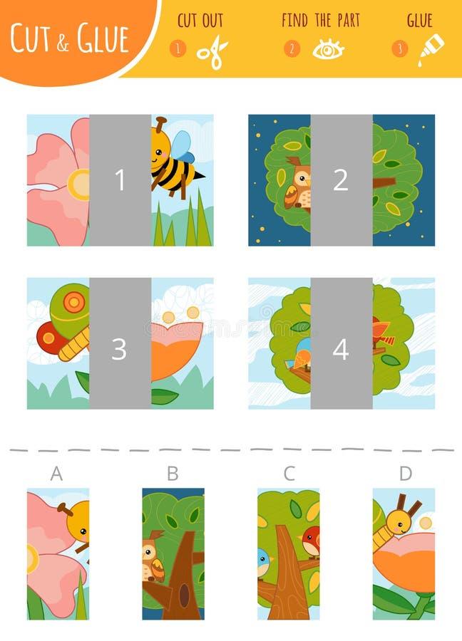 Encuentre la parte correcta Corte y juego del pegamento para los niños Sistema de color sobre insectos y pájaros stock de ilustración
