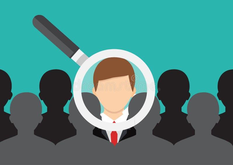 Encuentre a la persona adecuada Concepto de trabajo, recurso humano choosing libre illustration