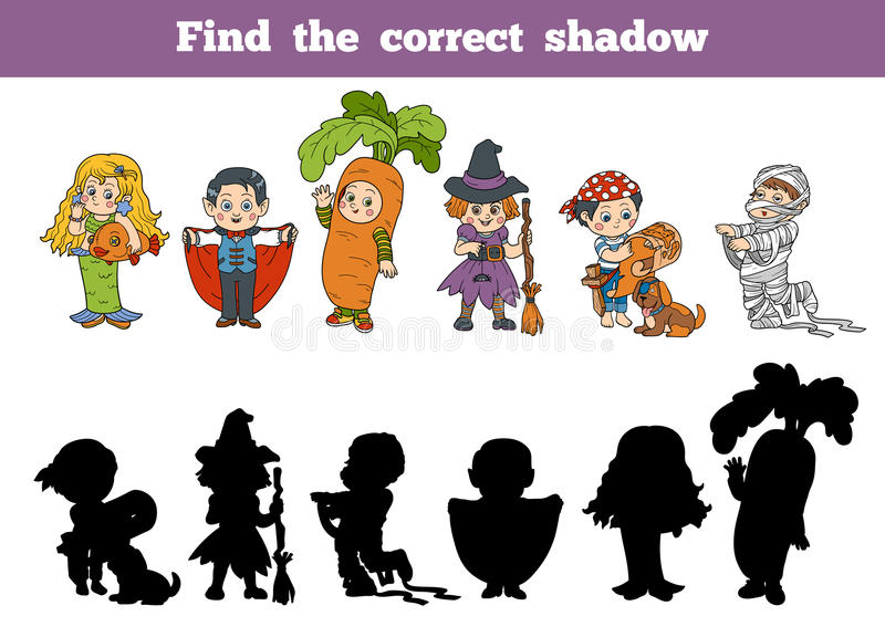 Encuentre la sombra correcta: Caracteres de Halloween stock de ilustración