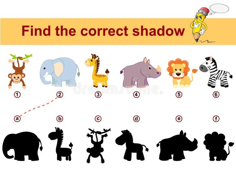 Encuentre la sombra correcta Embroma el juego educativo Animales africanos Le?n, elefante, jirafa, mono, cebra y rinoceronte stock de ilustración