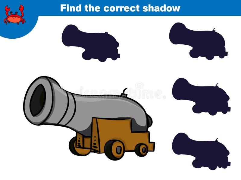 Encuentre la sombra correcta, juego de la educación para el sistema de los niños de caracteres del pirata de la historieta Ilustr ilustración del vector