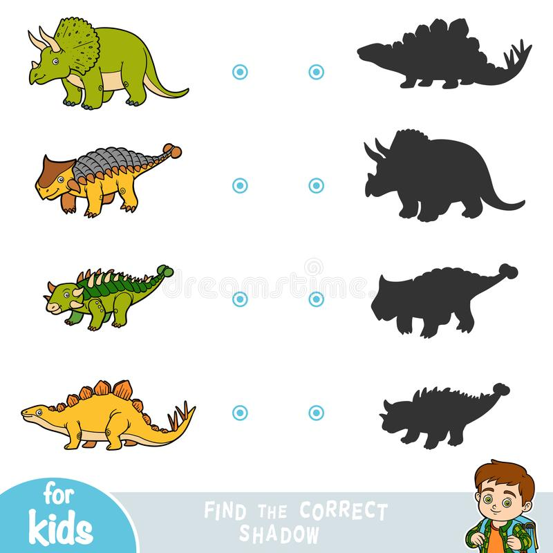 Encuentre la sombra correcta, juego de la educación Sistema de dinosaurios de la historieta libre illustration