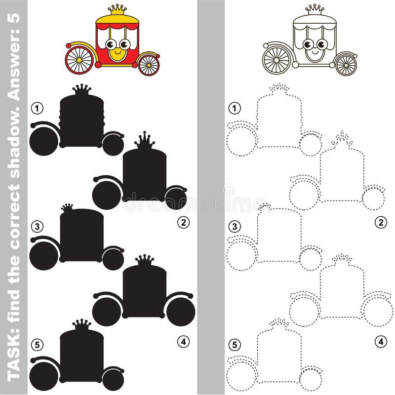 Encuentre la sombra correcta verdadera, el juego educativo del niño ilustración del vector