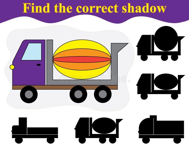 Encuentre la sombra del mezclador de cemento Juego educativo para los niños stock de ilustración