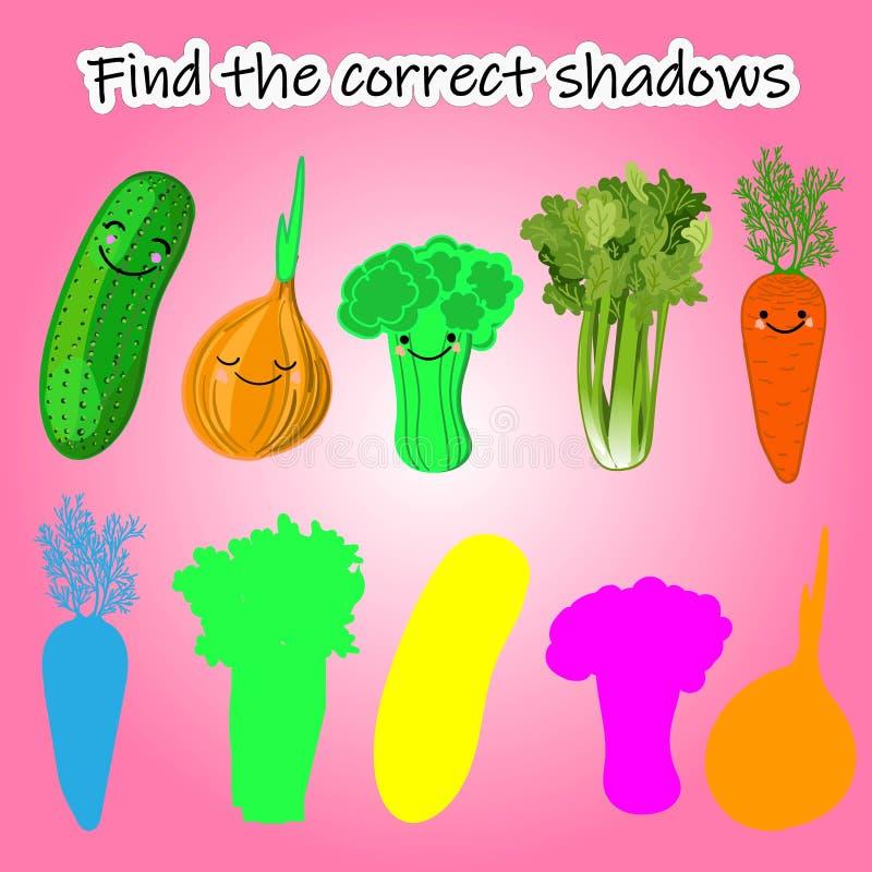 Encuentre la sombra derecha de la verdura ilustración del vector