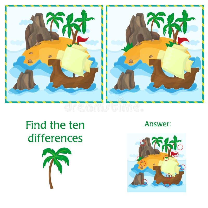 Encuentre las diez diferencias entre las dos imágenes con la isla y envíe stock de ilustración