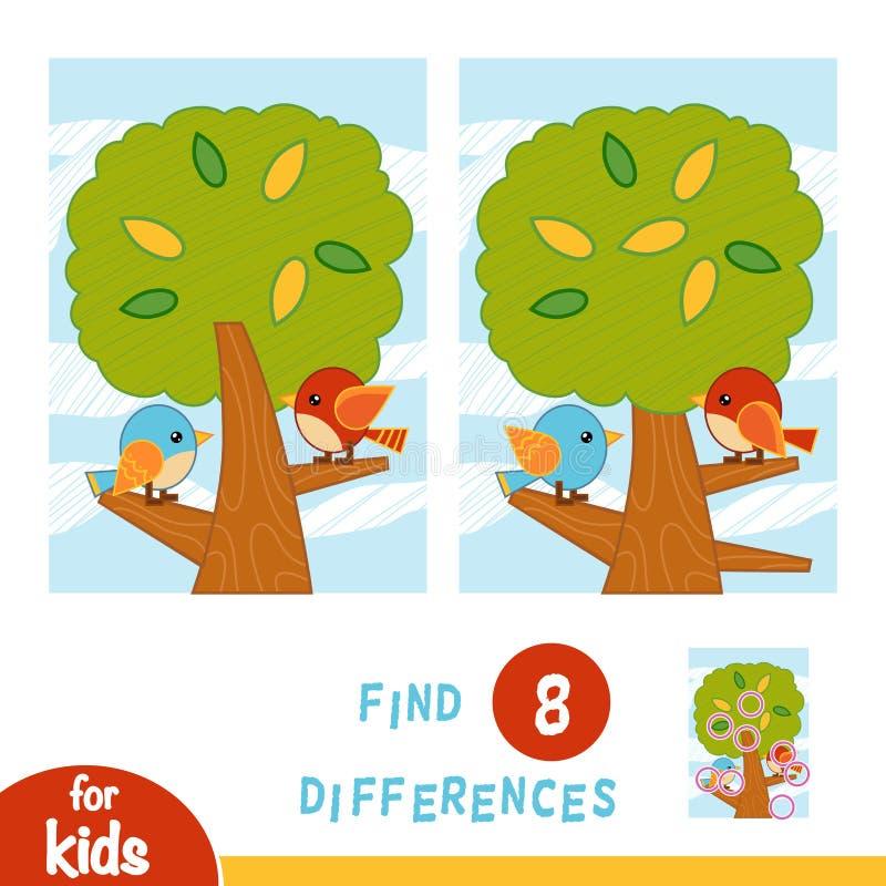 Encuentre las diferencias, juego de la educaci?n Un d?a de verano Los p?jaros en el ?rbol libre illustration