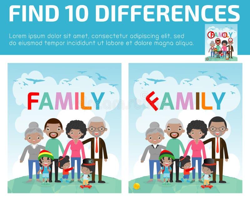 encuentre las diferencias, juego para los niños, juego para el niño, encuentre 10 diferencias, familia, juego de los niños, juego ilustración del vector