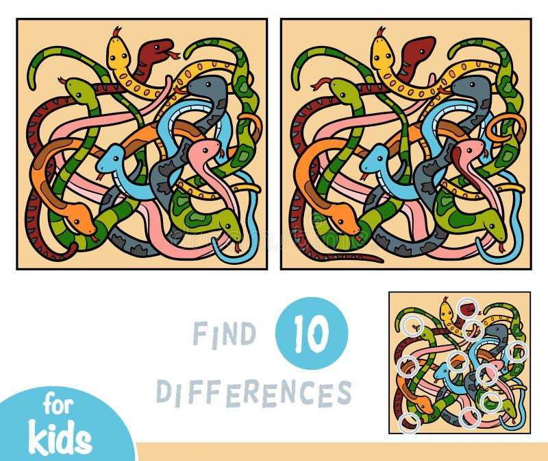 Encuentre las diferencias, juego para los niños, ocho serpientes ilustración del vector