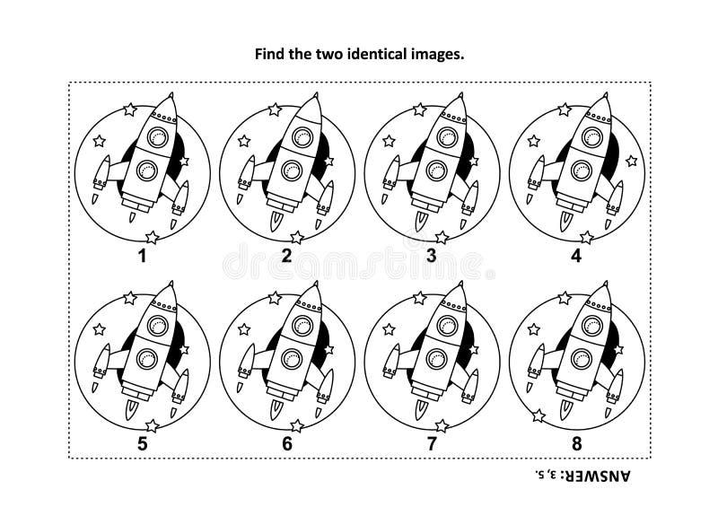 Encuentre las dos imágenes idénticas con la página visual del cohete o del rompecabezas y del colorante de la nave espacial libre illustration
