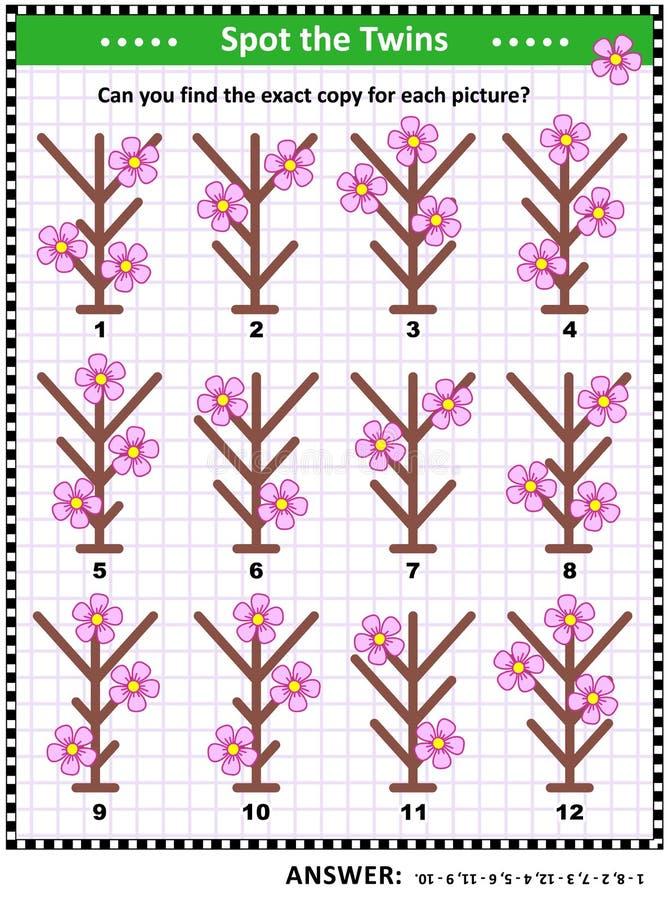 Encuentre los pares de imágenes idénticas con las primeras flores de la primavera ilustración del vector