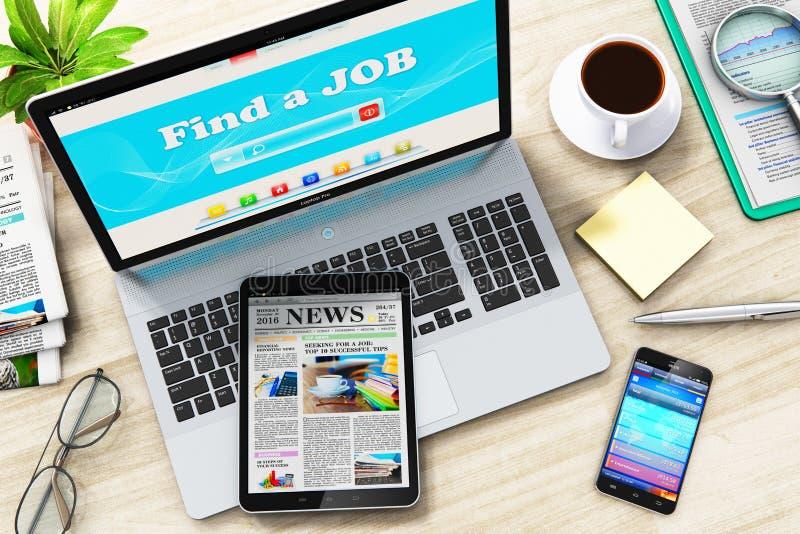 Encuentre o busque un trabajo en Internet en el ordenador portátil libre illustration