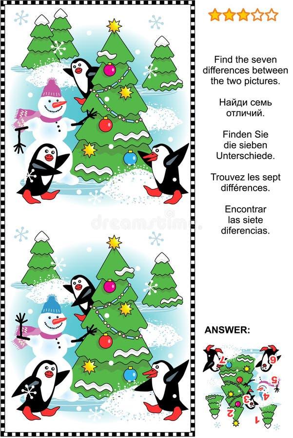 Encuentre rompecabezas de siete diferencias representaciones visuales de la Navidad o del Año Nuevo ilustración del vector