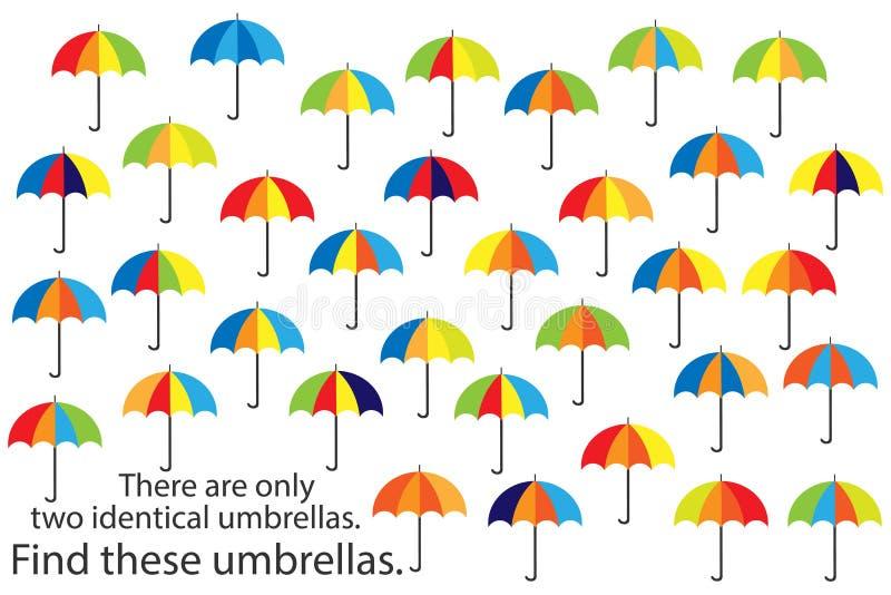 Encuentre solamente dos mismos paraguas, juego para los niños, actividad preescolar para los niños, tarea del rompecabezas del ot stock de ilustración