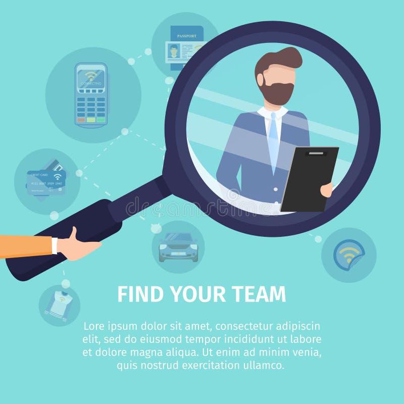 Encuentre su negocio Team Vector Poster Template ilustración del vector