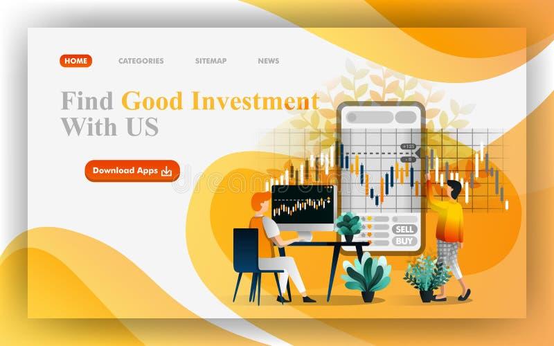 Encuentre un ejemplo de la web del vector de la buena inversión, gente analizan datos para tomar la decisión en mercado financier libre illustration