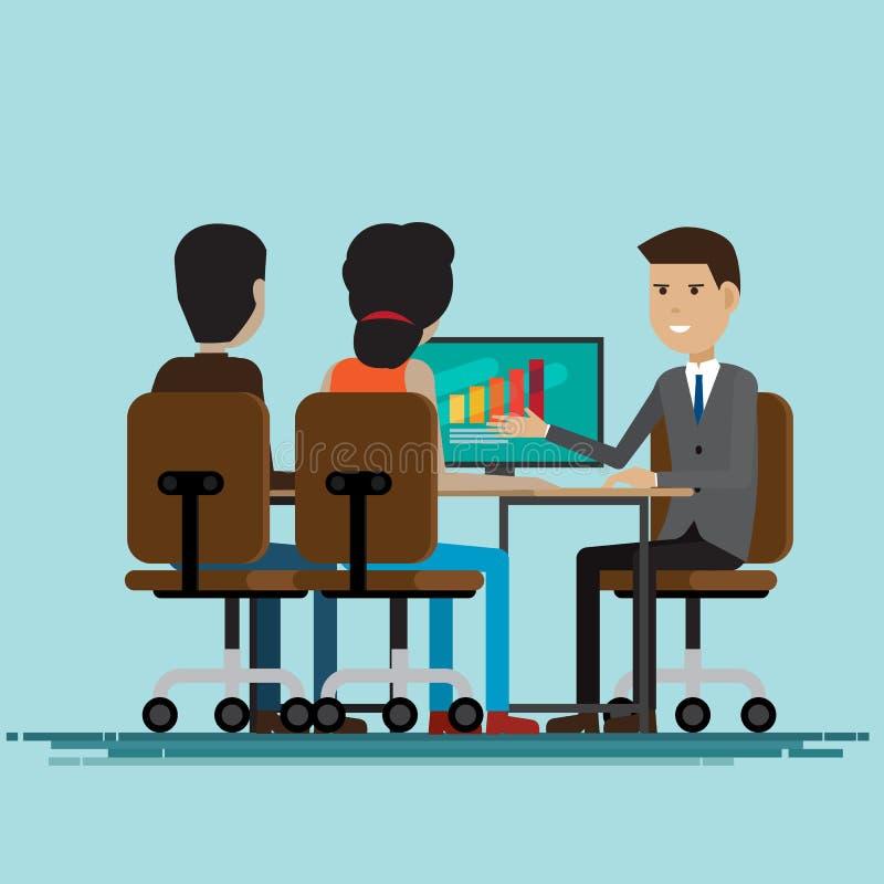 Encuentro de las negociaciones del trabajo del negocio junto stock de ilustración