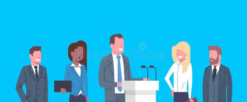 Encuentro de los empresarios del concepto de la entrevista del debate público del congreso de negocios ilustración del vector