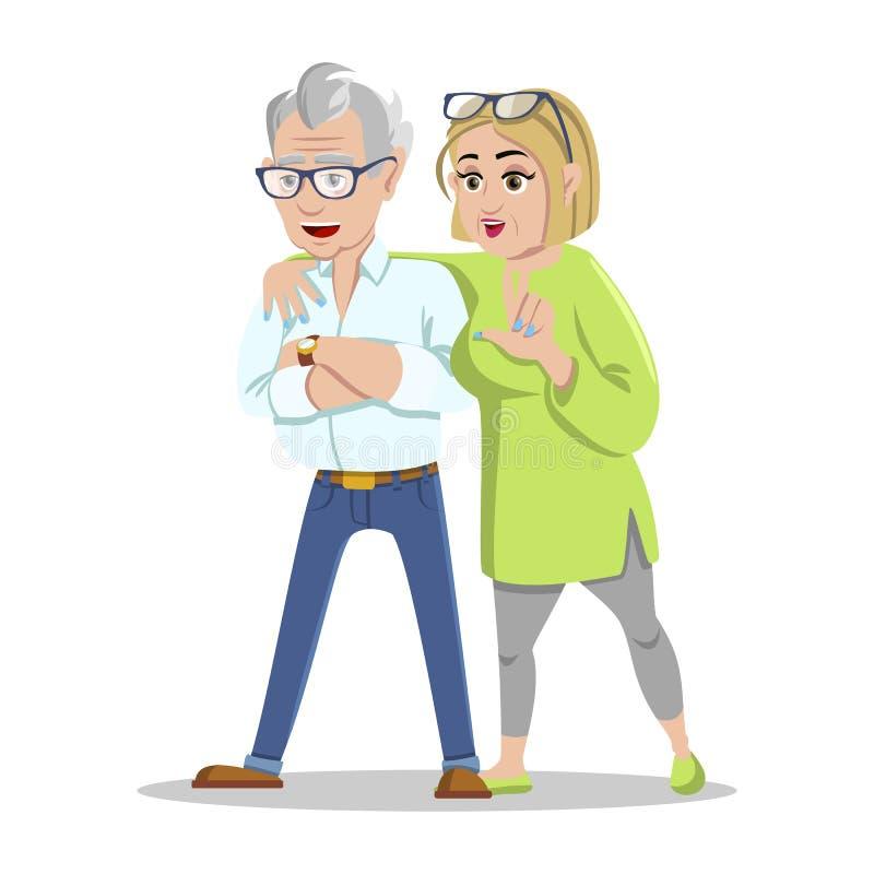 Encuentro de viejos amigos Inconformistas mayores alegres de la gente que recolectan y que se divierten Pensionistas felices en e libre illustration