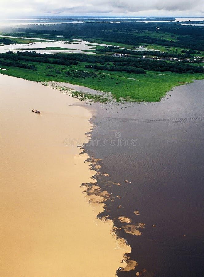 Encuentro del agua de ríos foto de archivo libre de regalías