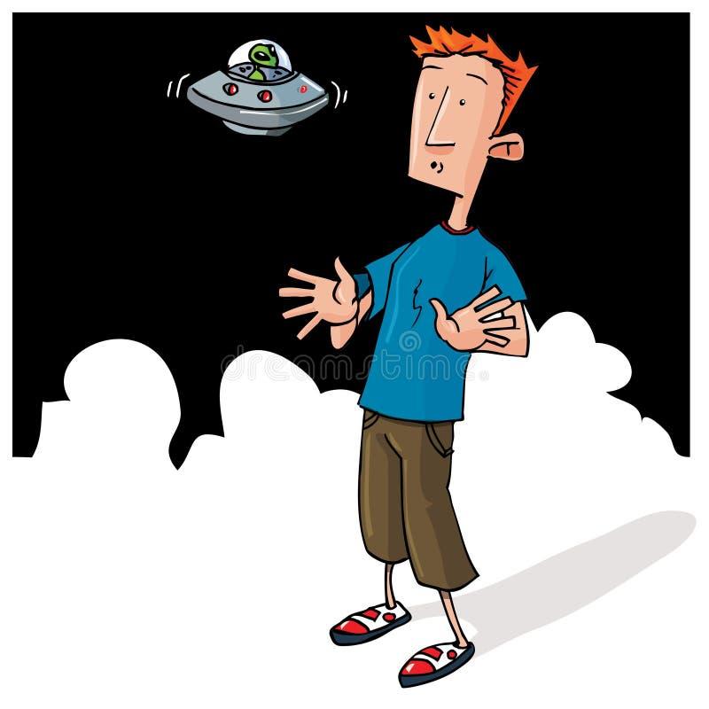 Encuentro extranjero de la historieta con el pequeño UFO stock de ilustración