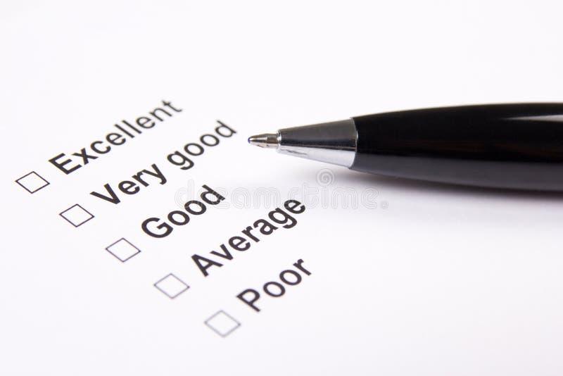 Encuesta con excelente, respuestas muy buenas, buenas, medias y de los pobres imagen de archivo libre de regalías