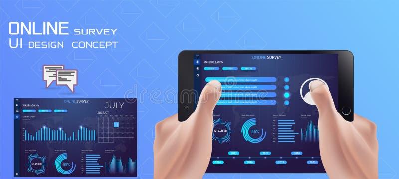 Encuesta, controles tableta de la mano de la lista de control y pantalla táctil en línea del finger Concepto del negocio de la re ilustración del vector