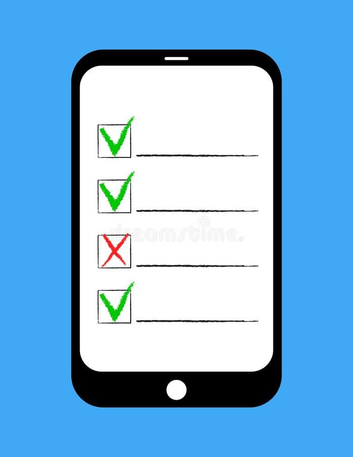 Encuesta en línea, forma de la lista de control en la pantalla de la tableta Concepto de la reacción del servicio de atención al  libre illustration