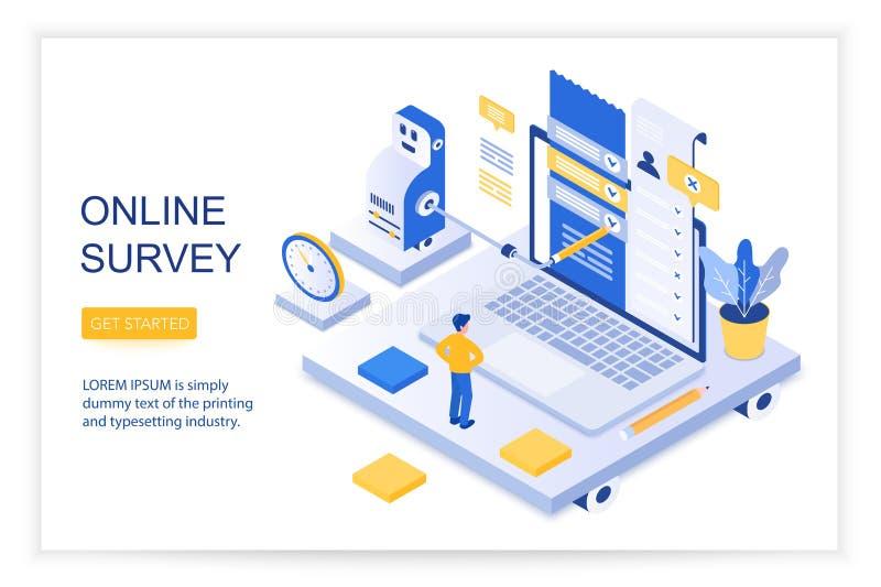 Encuesta en línea, lista de control de preguntas, cuestionario, página de aterrizaje isométrica social de la página web del conce ilustración del vector