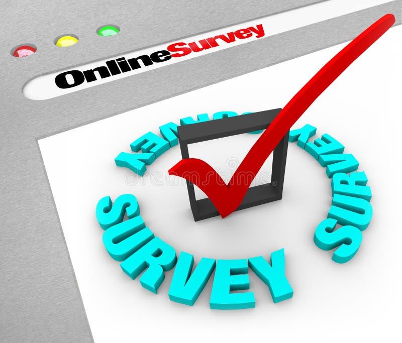 Encuesta en línea - pantalla del Web ilustración del vector