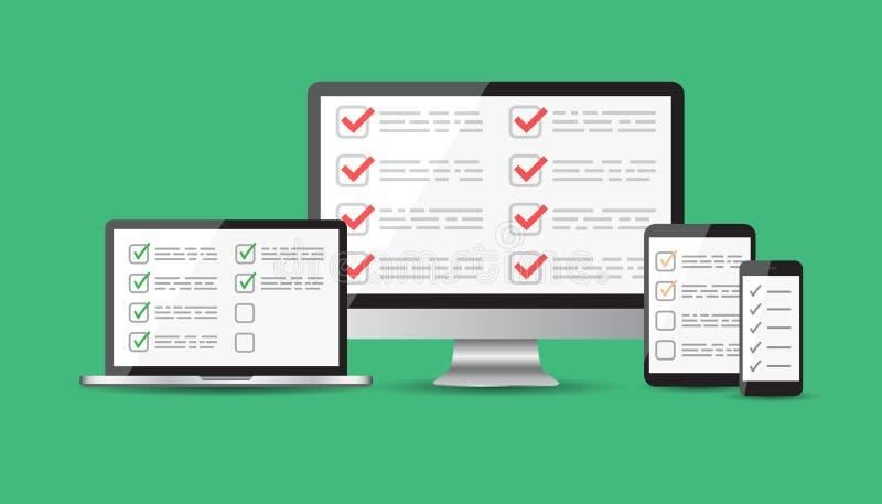 Encuesta en línea, sistema de la lista de control Tableta, ordenador, SCR móvil del espacio en blanco stock de ilustración