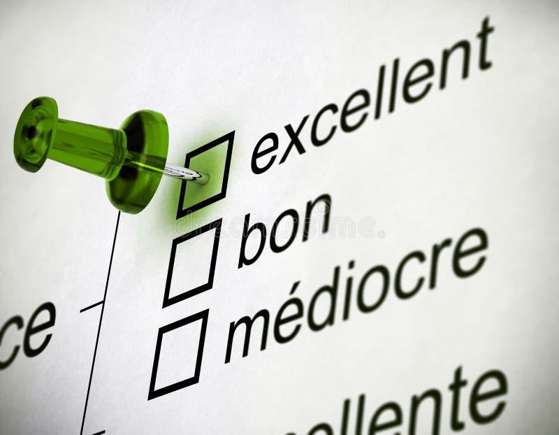 Encuesta sobre francesa la calidad stock de ilustración