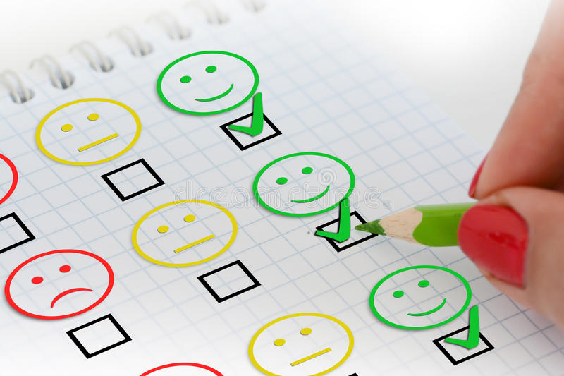 Encuesta sobre o cuestionario la satisfacción del cliente fotos de archivo libres de regalías