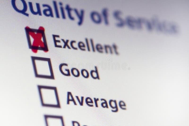 Encuesta sobre servicio de calidad foto de archivo libre de regalías