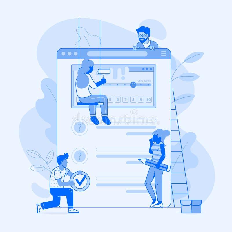 Encuesta sobre Team Working Over Client Experience stock de ilustración