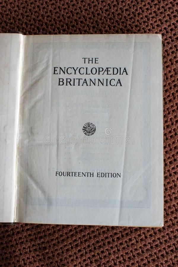 The Encyclopaedia Britannica fourteenth edition title page vertical. Mpumalanga, South Africa , September 2017, illustrative editorial image of title page only stock images
