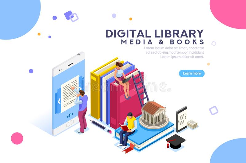 Encyclopedia Media and Book Library. Encyclopedia, media book library, concept of culture. Characters, group of students at academic learning, reading an e-book vector illustration