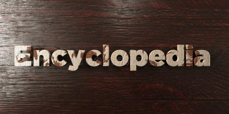 Encyclopedie - grungy houten krantekop op Esdoorn - 3D teruggegeven royalty vrij voorraadbeeld stock illustratie